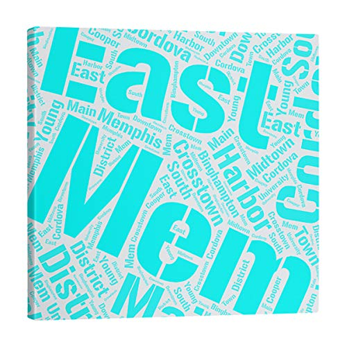 Find Discount ArtVerse Rand Cites Memphis, Tennessee Districts Word Art-Cyan Gallery-Wrapped Canvas