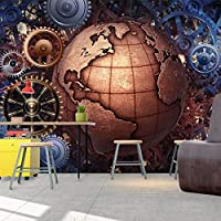 壁紙3D三次元機械ギア地球レストランバーKTV背景壁画PVC自己接着3Dステッカー-200cm(W)x200cm(H)