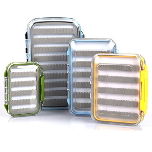 M MAXIMUMCATCH Maxcatch Waterproof Fly Box Double Clear Lid Slit Foam Jig Fly Fishing Box 4.1''x 3''x 1.3''