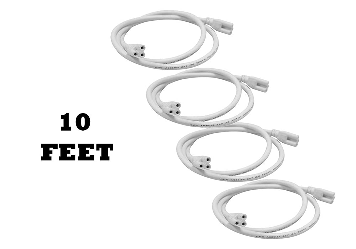 (4 Wire Pack) 10 FT Length T5 T8 LED Integrated Tube Lamp Connecting Wire Cable Cords for Ceiling Lights Lamp Holder Socket Fittings