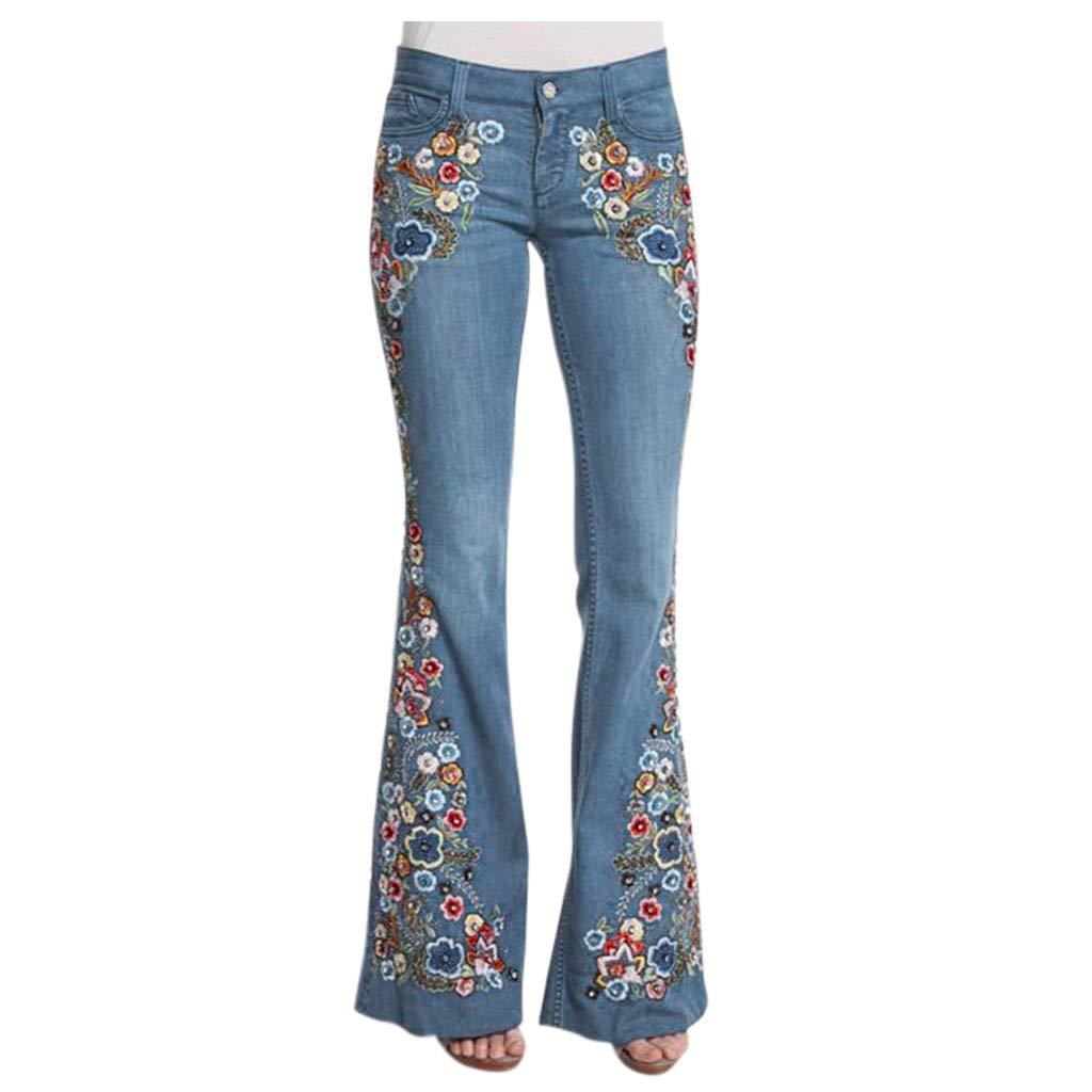奉呈 Moonite Women Floral Embroidered Jeans 大特価 Flare Bottom Fashion Bell