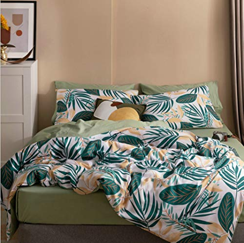 DUIPENGFEI Small Fresh Reactive Printing Cotton 4-Piece Set, Soft Bedding Set Duvet Cover, Green Leaves, King Size Duvet Cover 220 * 240Cm
