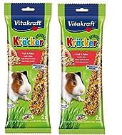 Vitakraft GUINEA PIG STICK HANGING FRUIT & FLAKE CAGE HUTCH TREAT 2 X 2 PK 25748