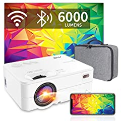 "Mini Beamer Wi-Fi Bluetooth - Artlii Enjoy2 6000 Lumens Wireless LED Beamer 300"" Ondersteunt 1080p Full HD Mini Projector, compatibel met PS4, X-Box, TV Stick Laptop iOS/Android Smartphone Projector*"