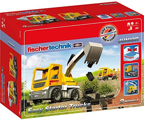 Fischertechnik 554194 Baustellenfahrzeuge Easy Starter Trucks ab 3 Jahren Baggerfunktion & Schwerlast Baustellen-LKW kann durch die einfache Steckfunktion kinderleicht umgebaut Werden