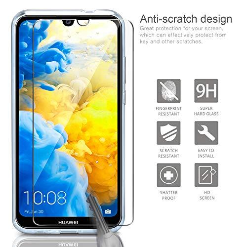 Leathlux Huawei Y5 2019 Hülle + [2 Pack] Panzerglas, Huawei Y5 2019 Durchsichtig Case Transparent Silikon TPU Schutzhülle Premium 9H Gehärtetes Glas für Huawei Y5 2019 - 2