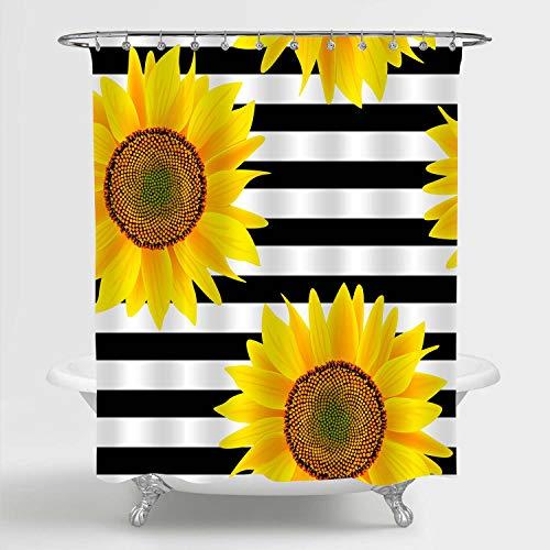 MitoVilla Sonnenblumen-Duschvorhang, hellgelbe Sonnenblume auf schwarz-weiß gestreiftes Muster, Badezimmer-Dekor, Sommer-Botanisches Kunstwerk, Badezimmer-Zubehör, 183 x 183 cm