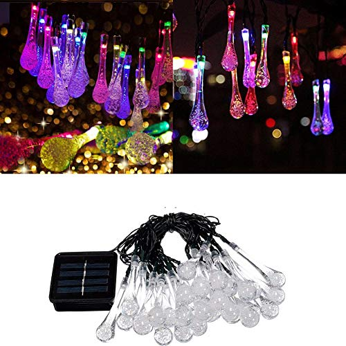 03 Solar String Lights,30 LED Solar String Light Waterproof Drop‑Shaped Outdoor Lights for Patio, Lawn, Garden, Wedding, Party, Christmas Decor Halloween(Colour)