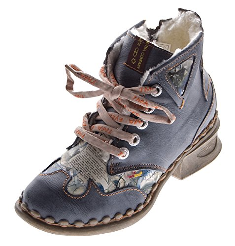 TMA Leder Damen Winter Stiefeletten Comfort Knöchel Schuhe 5171 Schwarz Boots gefüttert Gr. 38