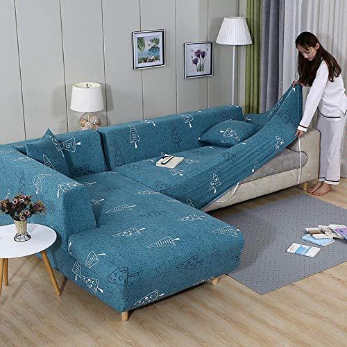B/H 3 Plaza Funda de Sofá Elástico Cubierta,Funda de sofá elástica, Funda de sofá de Tela Completa-O_235-300cm,Tejido Poliéster Cubre Sofa