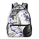 Laptop Rucksack Daypack Schulrucksack Backpack Geldrolle Hundert Dollarschein, Business Taschen Freizeit Rucksack Arbeits Schultasche für Herren Männer Schüler Schule