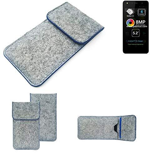 K-S-Trade Filz Schutz Hülle Für Allview A9 Lite Schutzhülle Filztasche Pouch Tasche Hülle Sleeve Handyhülle Filzhülle Hellgrau, Blauer Rand