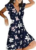 Primavera Y Verano Estampado De Lirio En La Cintura con Cuello En V Jersey Vestido De Mujer Vestido De Banquete Vestido De Playa De Verano
