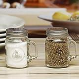 Circleware Honey Bee Mason Jar Mug Salt and Pepper Shakers with Glass Handles and Metal Lids, Set of 2, 5 oz