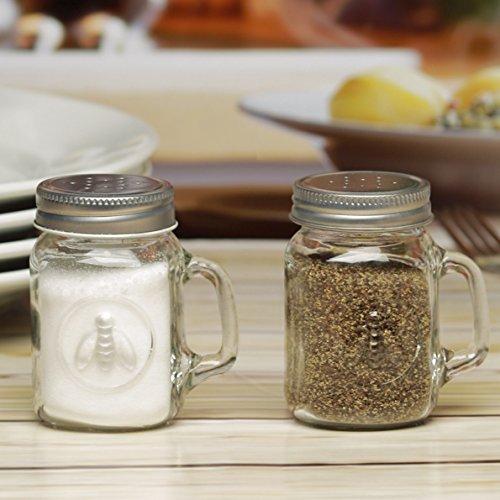 Circleware 66791 Honey Bee Mason Jar Mug Salt and Pepper Shakers with Glass Handles and Metal Lids, Set of 2, 5 oz