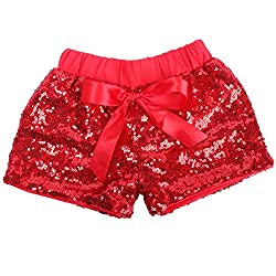 Red Sequin Shorts Glitter on Both Sides