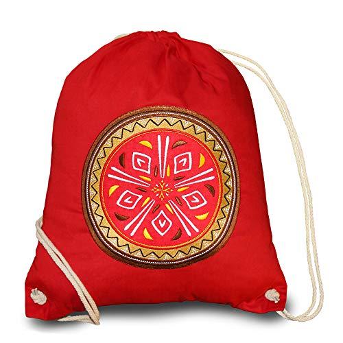 Bolsa de deporte de algodón hipster vintage, mochila para mujer mandala Gym Bag Man Women Hombres Bolsa de deporte niña niño bolsa Cool Bag Africa Decoración Boho Rojo African Design