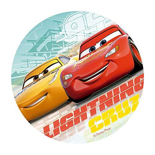 Dekora Innova- Cialda in Wafer Cars Lightning & Cruz, Colore Rosso e Giallo, 114379