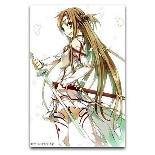 Sword Art Online, Sao, Yuuki Asuna anime regalos de lienzo para decoración de pared, cuadros de salón 30 x 45 cm
