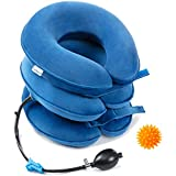 Big Size Cervical Neck Traction Device by Gimmef NTD201B- Inflatable & Adjustable Neck Stretcher Collar Brace, for Instant Neck and Shoulder Pain Relief, with Therapy Massage Ball
