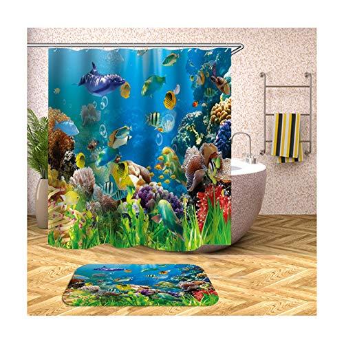 ANAZOZ Duschvorhang mit 12 Haken, Wasserdicht, Anti Schimmel, Umweltfre&lich Waschbar, 3D Wasserwürfel Polyester Fische Badvorleger Badezimmerteppich Blau 90X180CM A16913