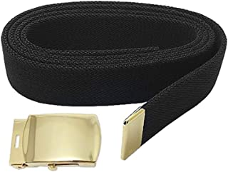 US Army Elastic Black Male Belt (44 in.) with Brite Buckle and Tip