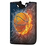 visesunny Basketball with Fire and Water Large Capacity Laundry Hamper Basket Water-Resistant Oxford Cloth Storage Baskets for Bedroom, Bathroom, Dorm, Kids Room