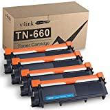 v4ink Compatible TN 660 Toner Cartridge Replacement for Brother TN660 TN630 (4 Pack Design V3) For MFC-L2700DW HL-L2340DW HL-L2300D HL-L2380DW HL-L2320D DCP-L2540DW DCP-L2520DW MFC-L2740DW MFC-L2720DW