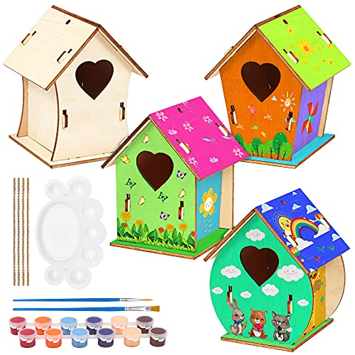 O-Kinee 4 Pezzi Casetta Uccelli in Legno Fai-da-Te Kit, Casetta Uccelli in Legno Pittura Kit Materiale Kit per Lavoretti Creativi Costruire Casetta Uccelli Giocattoli per Bambini