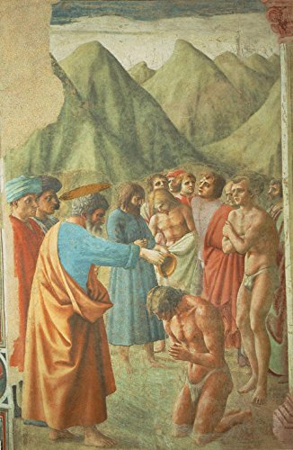 """The Baptism of the Neophytes by Masaccio - 18"""" x 27"""" Premium Canvas Print"""