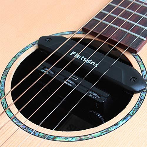 OUYAWEI Erelectronics Flatsons FR2 Multi-functionele akoestische gitaar resonantie pick-up versterker pick-up met Volume Mic vertraging Reverb Chorus Controls