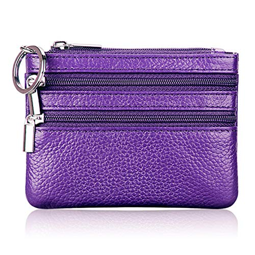 Women's Genuine Leather Coin Purse Mini Pouch Change Wallet with Key Ring...