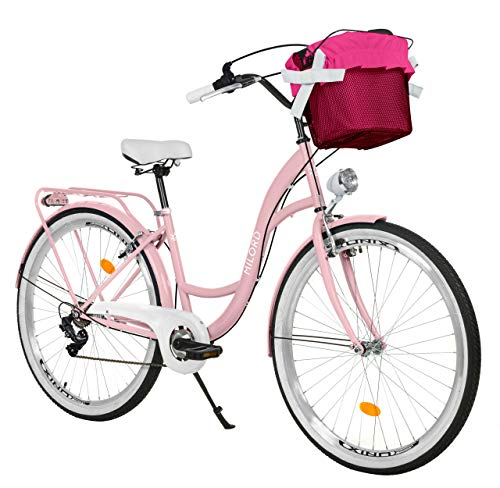 Milord. 28 Zoll 7-Gang Rosa Komfort Fahrrad mit Korb und Rückenträger, Hollandrad, Damenfahrrad, Citybike, Cityrad, Retro, Vintage