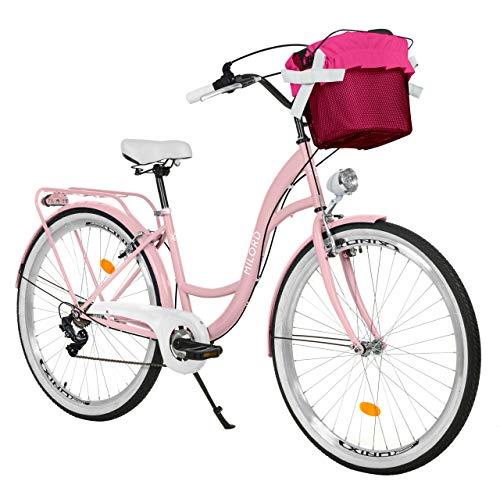 Milord Bikes Bicicleta de Confort, Rosa, de 7 Velocidad y 28 Pulgadas con Cesta y Soporte Trasero, Bicicleta Holandesa, Bicicleta para Mujer, Bicicleta Urbana, Retro, Vintage