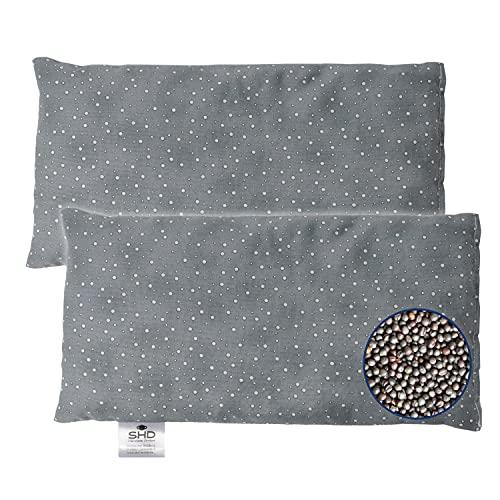 SHD - Cojín de semillas de colza (apto para microondas, 14 x 28 cm, relleno de colza, calor y frío para cuello y hombros), color gris