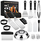 Yekale Griddle Accessories Kit, 17 Pcs Griddle Grill Tools Set for Blackstone and Camp Chef, Professional Grill BBQ Spatula Set with Basting Cover, Spatula, Scraper, Bottle, Tongs, Egg Ring