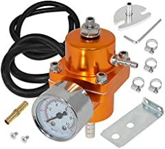 AJP Distributors Universal Jdm Anodized 0 to 140 PSI Fuel Pressure Regulator with Gauge (Gold)