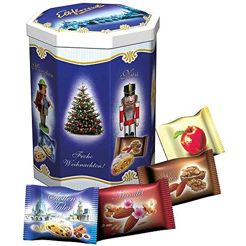 Elbflorenz Weihnachtskonfekt 4 Sorten in der Dose Marzipan/Mandel/Bratapfel und Nuss, 400 g