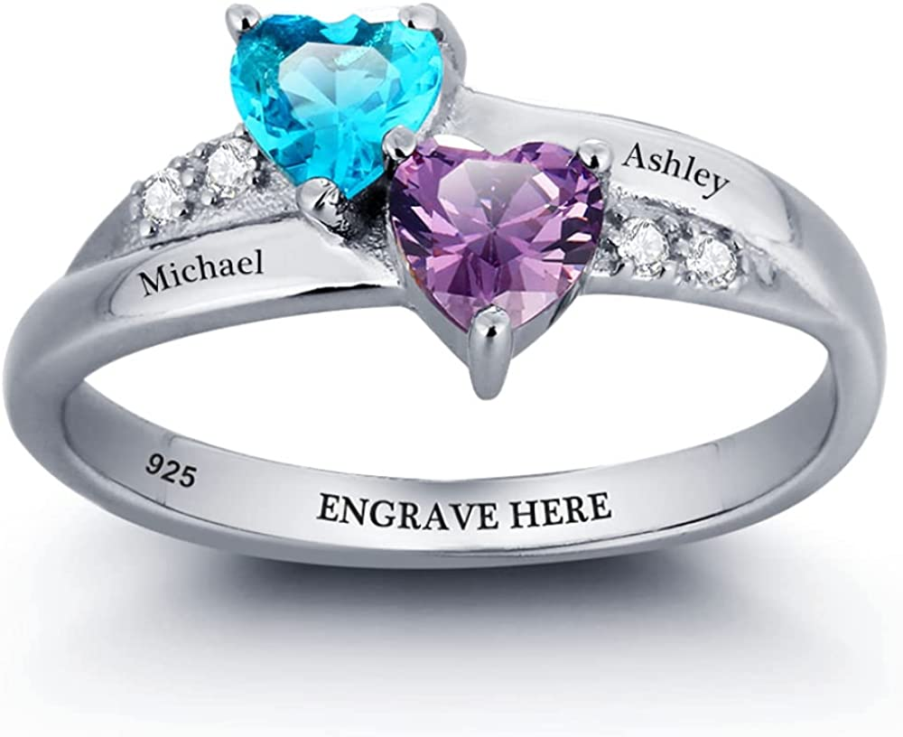 Personalized Promise Rings with 2 Heart Simulated Birthstones Engraved Mothers Name Rings for Women