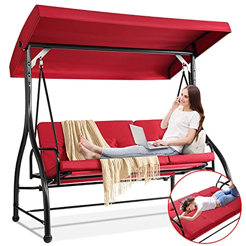 Aoxun Patio Swing Chair with Canopy Stand - Convertible Daybed Swing, Outdoor Backyard Bench Swing for Adults, Ultra Stable for Max. 530 lbs, Red