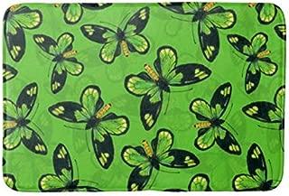 Yesstd Queen Victoria s birdwing Butterfly Absorbent Super Cozy Bathroom Rug Doormat Welcome Mat Indoor/Outdoor Bath Floor Rug Decor Art Print with Non Slip Backing 30