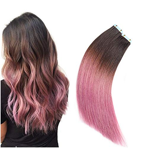 Rinboool Darkest Brown Fading To Lavender Pink Ombre Tape In Hair Extension For Women,14 Inch 40G 20pcs Per Pack,Pu Skin Weft Straight Real Remy Human Hair #2/Pink