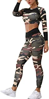 Remanlly 2PC women Yoga suit Women Pants & top, Ladies Camouflage Printed Yoga Suit Long Sleeve Running Trousers Suit Gym ...