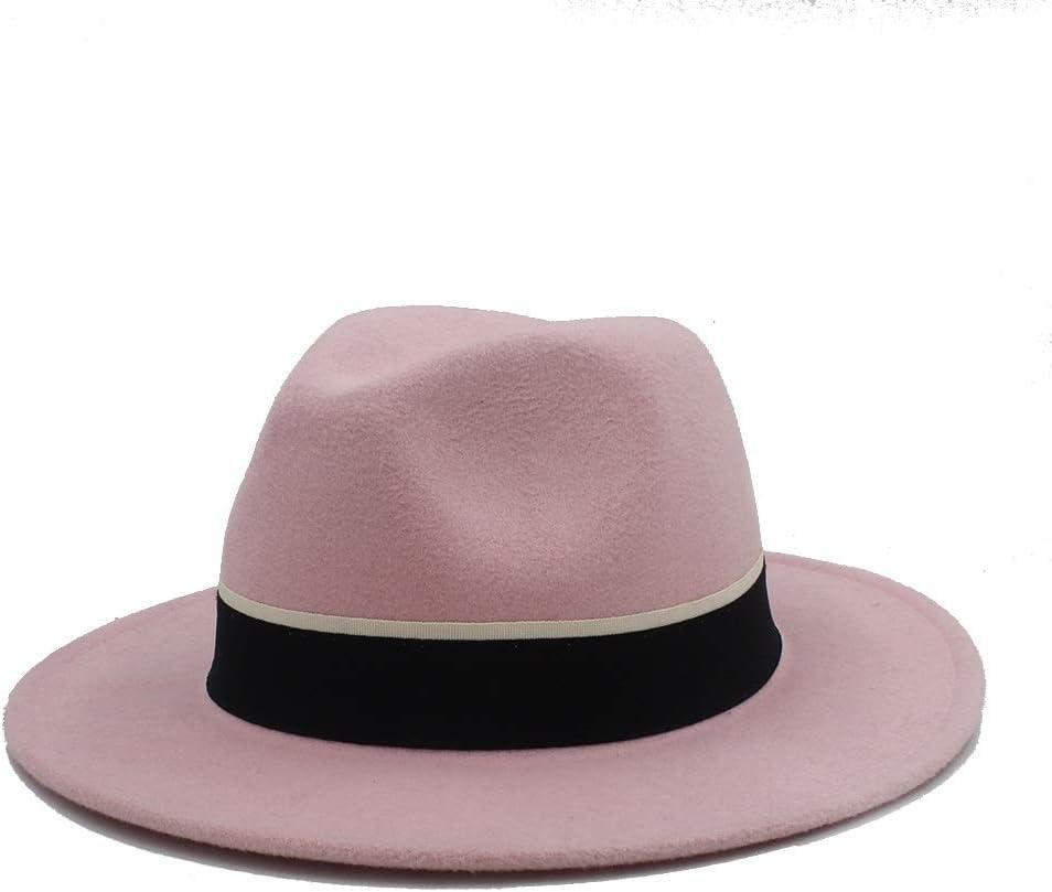 LHZUS Hats Men Women Casual Fedora Hat with Black Cloth Belt Pop Wide Brim Jazz Hat Wild Church Fascinator Hat Size 56-58CM (Color : Pink, Size : 56-58)