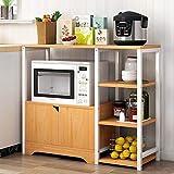 YIJIAHUI-Home Estante de Horno para microondas Estante de la Cocina del Panadero de la Vendimia Storage Utility Shelf Microondas Soporte con gabinete y 3-Tier Estantes 3 Colores