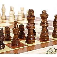 チェッカーセット34x34cm木製国際チェスセットボード3in 1トラベルゲームチェスバックギャモンドラフトエンターテインメントチェスゲーム(色:1PCS)