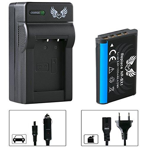 SK Akku Sony NP-BX1 1100mAh + Ladegerät Charger für Sony Cyber-Shot DSC RX100 IV V HX50 HX60V HX90V HX300 HX400V DSC-WX500 WX300 WX350 WX500