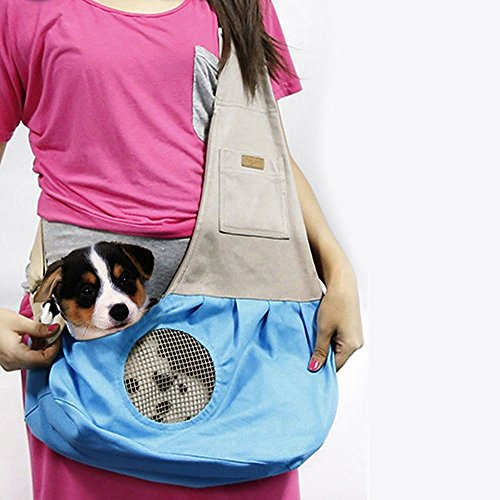 THINKPRICE Roll Over Image to Zoom in Pet Sling Carrier, Dog Sling Bag Shoulder Carry Bag with Extra Pocket for Cat Dog Puppy Kitty Rabbit Small Animals (Blue)