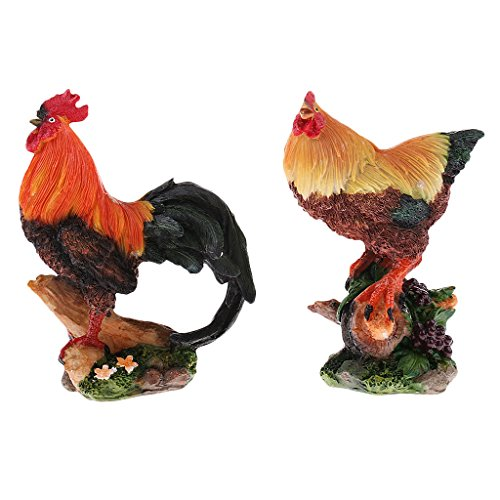 Fenteer - Gartenfiguren & Gartenstatuen in 2pcs Huhn, Größe as described