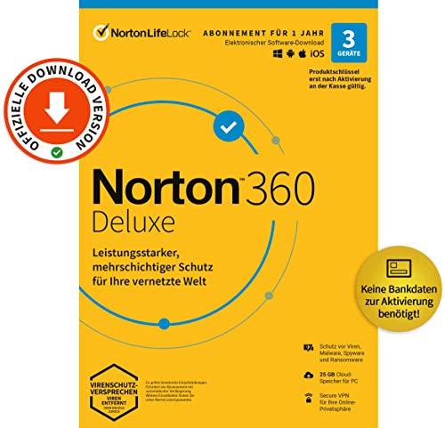 Norton 360 Deluxe 2020 | 3 Geräte | Unlimited Secure VPN & Passwort-Manager | 1 Jahr | PC, Mac oder Mobilgerät | Aktivierungscode per Email